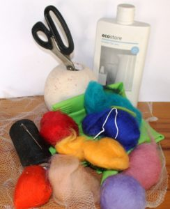 supplies for DIY felt coin purse