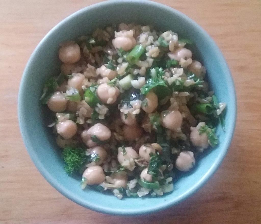 Freekah and chickpea salad