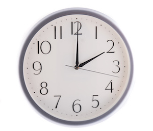 isolated white clock at 2