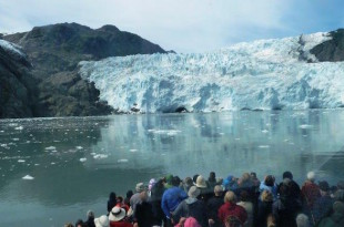 At the mighty Holgate Glacier in Kenai Fjords