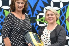 Deborah Hohneck and Jackie Smith with AED