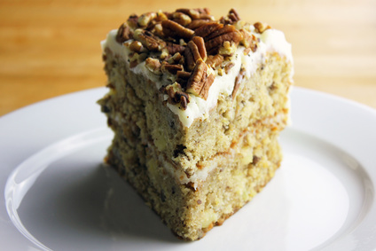 A slice of homemade hummingbird cake