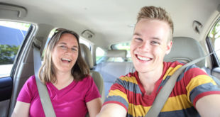 Mother and son in car