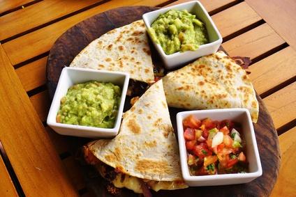 Cheese quesadillas with guacamole and pico de gallo