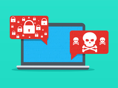 Alert notification malware on laptop. Insecure connection or internet fraud.