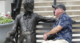 Ian with Abraham Lincoln in Bloomington Illinois