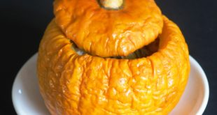 Jack Be Little pumpkin stuffed with savoury rice.