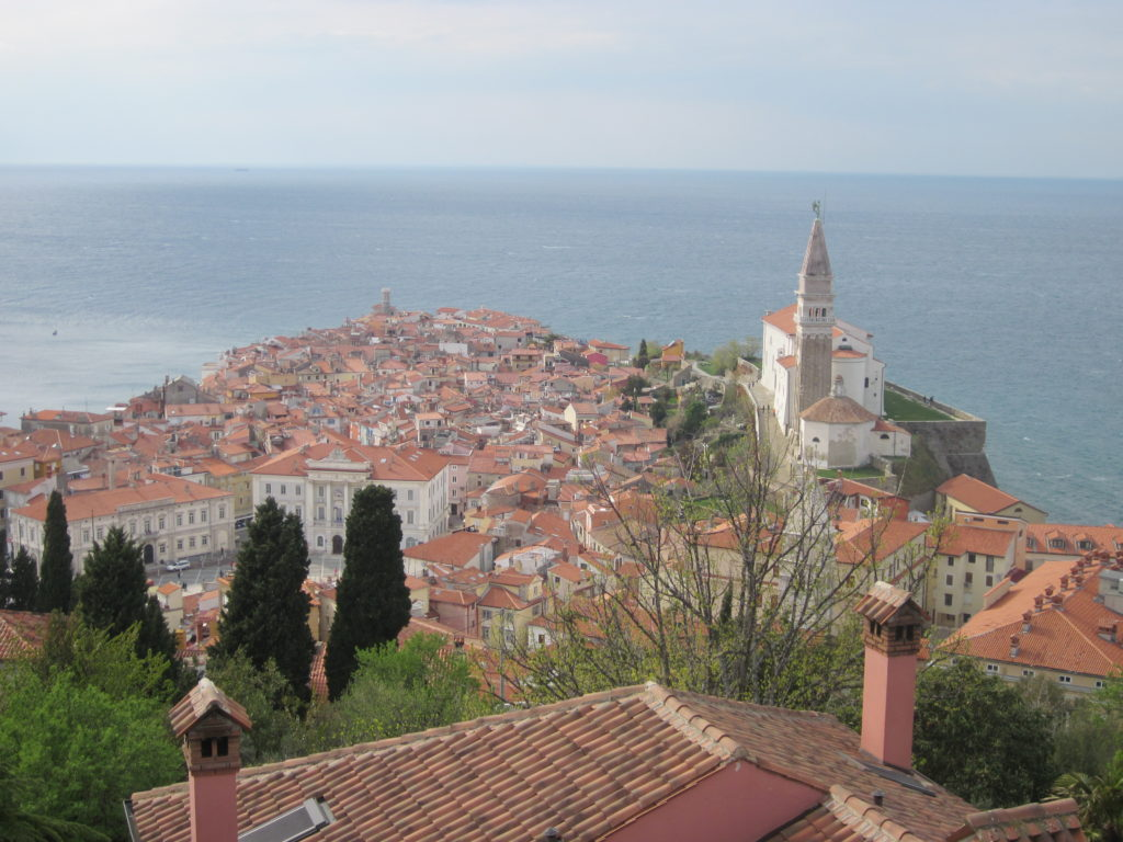 Pretty Piran viewed from the park at the top of the town.