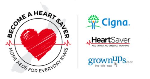 GrownUps & Cigna partner with Heart Saver to save Kiwi lives - Be in to win an AED