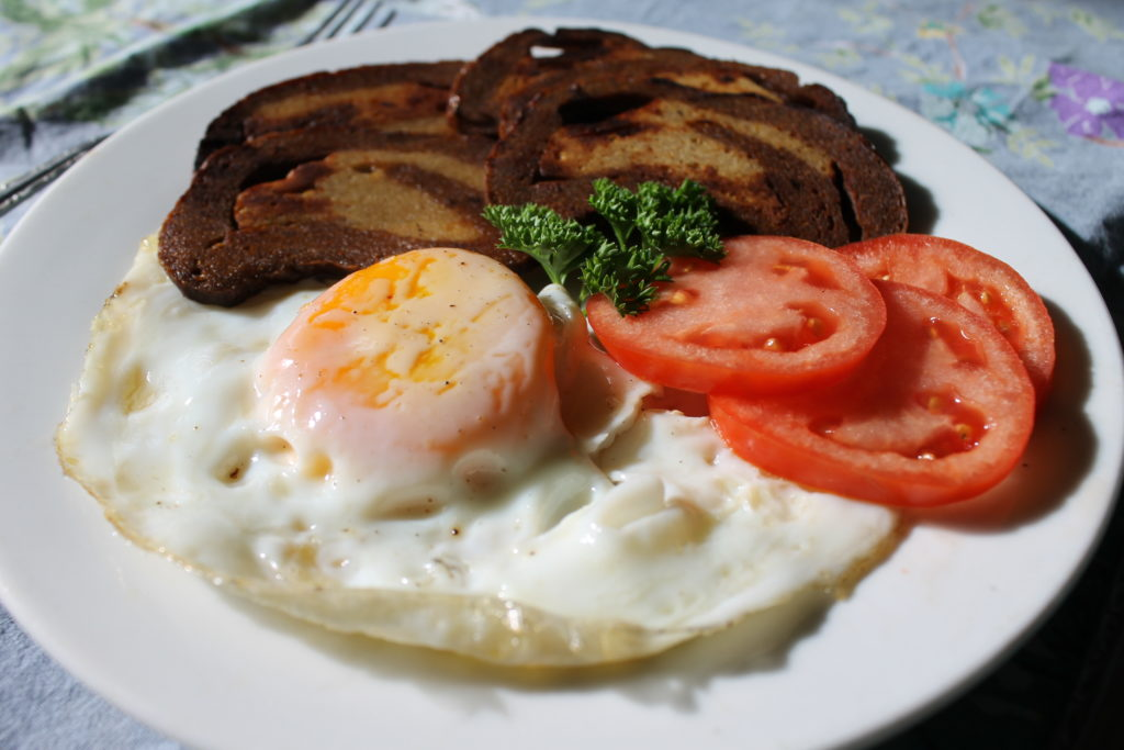 Seitan bacon and eggs