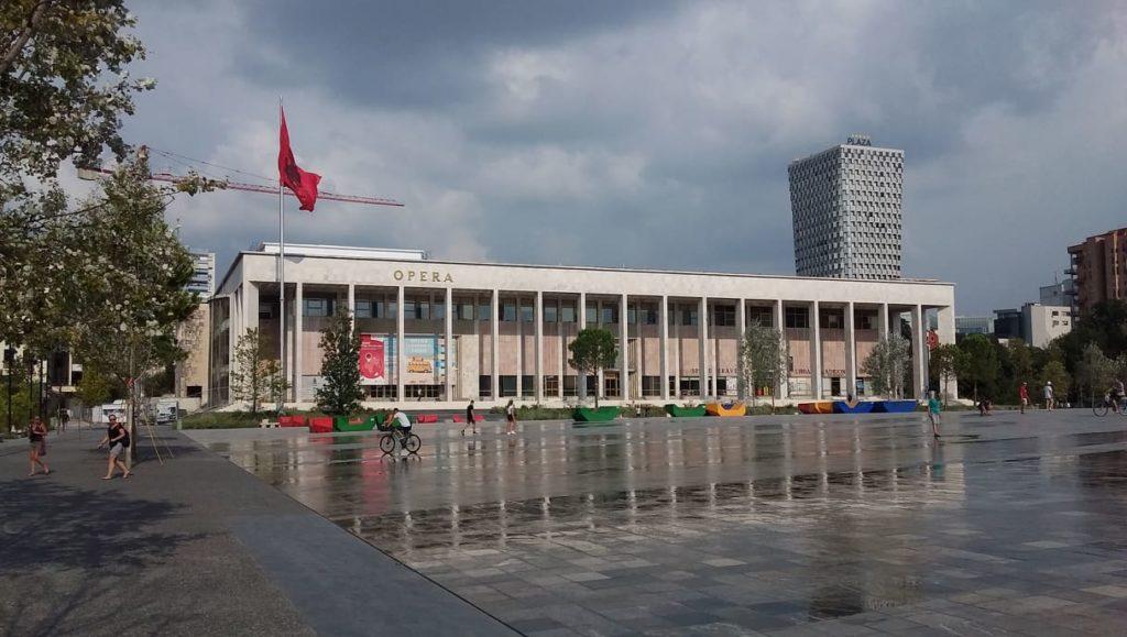 Soviet architecture dominates Tirane's main square.