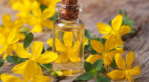 remedy St. John's wort flower in a glass bottle