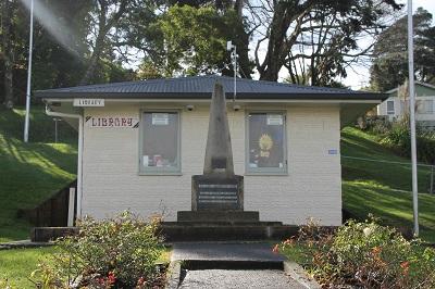 Tiny Kāwhia Library and war memorial.