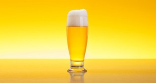 Alcoholic beverage in glass over yellow background