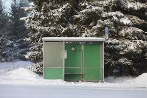 Bus stop in winter environment