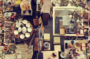 aerial view of a stall in a flea market full of bits and pieces