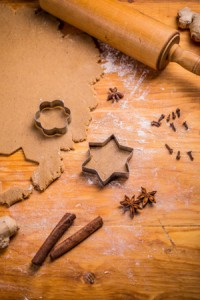 Gingerbread star cookie cuts, dough