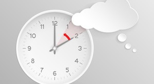 Cloud shaped speech bubble and vector clock with hands at 2 o'clock and an red arrow symbolizing the hour backward to 1 o'clock for the change of time in autumn, fall in America on silver background.