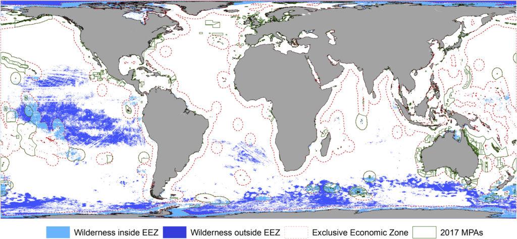 Map of wilderness in oceans