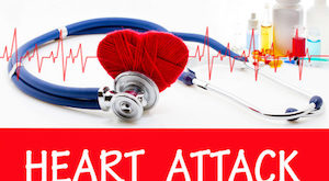 The diagnosis of heart attack. Phonendoscope and vaccine with drugs. Medical concept.