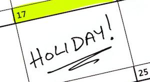 A holiday date highlighted on a Calendar.