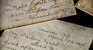 Close up shot of a love letter written in Atlantic City, NJ, more than a hundred years ago in 1915; envelope was sent to Pleasantville, NJ