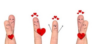 Smiling and happpy finger couple in love celebrating Valentine day