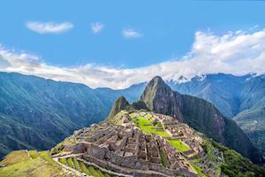 View of Machu Picchu, Peru with Wayna Picchu rising in the background