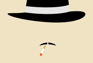Simple graphic of a man with vintage hat smoking cigarette