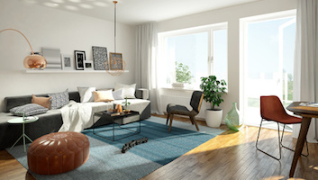 3D rendering of a modern living room