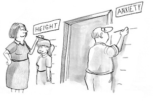 Cartoon about how parent's anxieties grow as their children grow up.