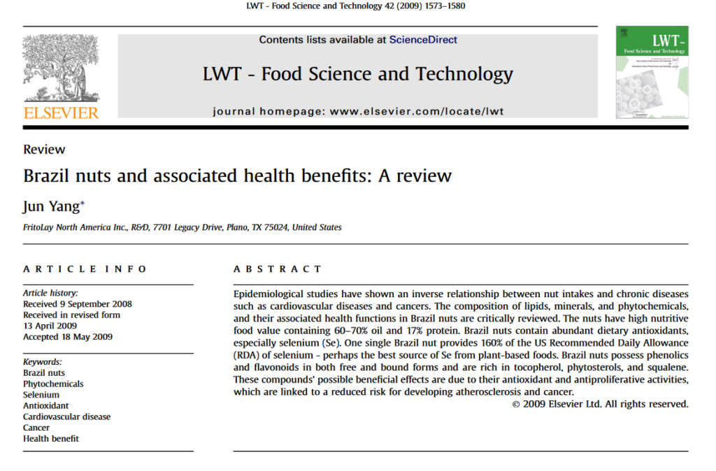 Google Scholar research claims - brazil nuts - superfood