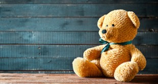 Close up photograph of a cute teddy bear