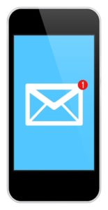 Mail Notification On Modern Black Smartphone Isolated